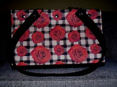 Tartan and Red Roses Mid Tote!  This tote is big enough to fit a bottle of wine!  It has a bright red lining and seven inside pockets to keep all your stuff organized!  It also has feet for protection.  $175.00 Red Roses, Tartan, Diaper Bag, Totes, Bright, Pockets, Wine, Bottle, Bags