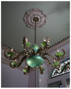 steampunktime: Gold and Green Dixie La Rue Octopus Chandelier by Adam Wallacavage OOh imaging this sort of pattern on a skirt or shirt. Decor, Lighting, Home, Lamp, Ceiling Lights, Lamp Light, Kitschy, Lights, Chandelier