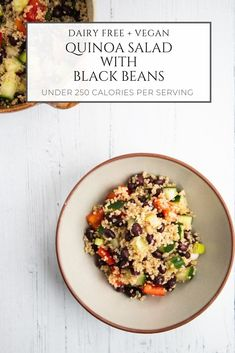 This quick and easy vegan quinoa salad with black beans is refreshing, delicious and good for you. It mixes juicy cucumbers, crisp red pepper and spring onions with protein-packed quinoa and black beans for a healthy lunch or light dinner. Vegetarian Salad Recipes, Vegetarian Dinners, Vegan Recipes, Free Recipes, Vegan Blogs, Vegan Main Dishes, How To Cook Quinoa, Quinoa Salad, Black Beans