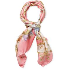 """Versace Women's Printed Silk Square Scarf, 35"""" x 35"""" (2,270 MXN) ❤ liked on Polyvore featuring accessories, scarves, no color, pure silk scarves, versace scarves, silk scarves, versace and square silk scarves"""