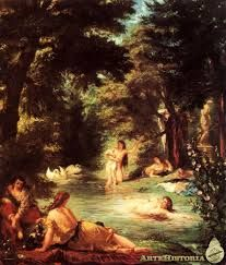 Global Gallery 'Turkish Women Bathing' by Eugene Delacroix Framed Painting Print Size: Manet, Painting Frames, Painting Prints, Art Prints, French Paintings, Oil Paintings, Art Commerce, Hieronymus Bosch, Aesthetic Painting