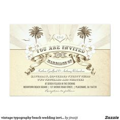 vintage typography beach wedding invitations