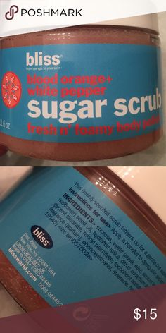 Bliss Blood Orange and White Pepper Sugar Scrub NIB. Foaming sugar scrub. Smells amazing!! Bliss Makeup Brushes & Tools