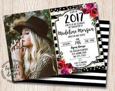 Floral graduation invitation pink gold black rustic floral floral graduation invitation pink gold black rustic stopboris Image collections
