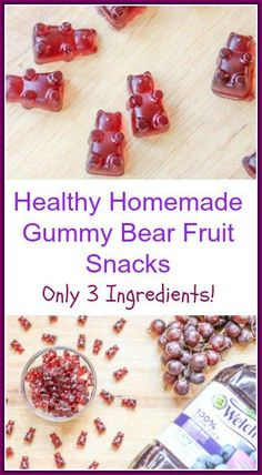 This is an easy gluten free healthy Homemade Gummy Bear Fruit Snacks recipe It is made with only 3 ingredients Welchs 100 Grape Juice honey and Gelatine Homemade Gummies, Homemade Gummy Bears, Homemade Candies, Fruit Snacks Homemade, Homemade Toddler Snacks, Making Gummy Bears, Candy Recipes, Baby Food Recipes, Snack Recipes
