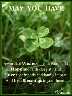 May You Have A World Of Wishes At Your Command. Hope And Faith Close At Hand. Love That Friends And Family Impart And Irish Blessings In Your Heart.