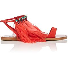 Miu Miu Women's Feather- & Crystal-Embellished Satin Sandals ($990) ❤ liked on Polyvore featuring shoes, sandals, open toe flat shoes, criss cross flat sandals, buckle sandals, ankle strap flat sandals and flat sandals