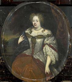 H. de Valck   Portrait of Frouck, Barones van Aylva, Wife of Hans Willem van Aylva after 1658, H. de Valck, 1693 - 1717   Portret van Frouck, barones van Aylva, sedert 1658 echtgenote van Hans Willem van Aylva. Kniestuk in ovaal, zittend voor een balustrade, op de achtergrond een landschap. Pendant van SK-A-1401.