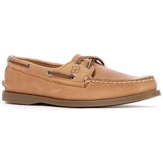 Sperry Top-Sider Women's Two Eye Boat Shoe ($64) ❤ liked on Polyvore featuring shoes, loafers, sperrys, summer shoes, boat style shoes, preppy boat shoes, woven leather shoes and brown deck shoes