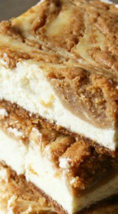 Biscoff Cookie Butter Swirled Cheesecake Bars Recipe
