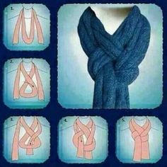 Great way to tie a scarf! I'm using this the next time I knit a nice scarf. If I'm gifting the scarf, I'll add sketches of this (and some other scarf knots) to the card. Look Fashion, Diy Fashion, Ideias Fashion, Fashion Beauty, Winter Fashion, Womens Fashion, Fashion Tips, 1950s Fashion, Vintage Fashion