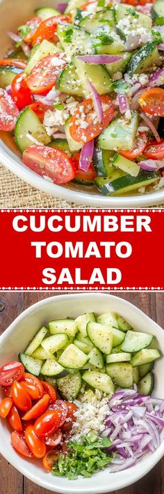 Cucumber Tomato Salad with sliced cucumbers, fresh tomatoes, sliced red onions, in a red wine vinaigrette Cucumber Tomato Salad, Cucumber Recipes, Chicken Salad Recipes, Healthy Salad Recipes, Spinach Salad, Queso Cotija, Cotija Cheese, Vegetable Side Dishes, Vegetable Recipes