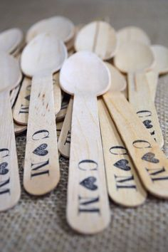 100 Disposable And Compostable Wooden Utensils - Monogram With Heart Design