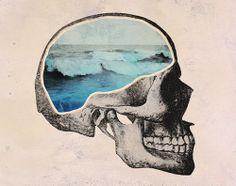 Angels and Airwaves. Angels And Airwaves, Vanitas, Memento Mori, Photomontage, Wave Art, Brain Waves, Skull And Bones, Skull Art, Chinoiserie