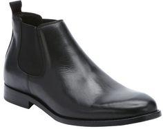 $385, Black Leather Chelsea Boots: a. testoni Black Leather Chelsea Boots. Sold by Bluefly. Click for more info: https://lookastic.com/men/shop_items/335920/redirect