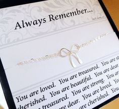 friendship bracelet with message card, silver bow bracelet, Bridesmaid gifts, gifts for best friends & sisters,Friendship card. $29.50, via Etsy.