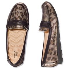 An animal print brings a glamorous edge to this classic leatherlike #loafer. Featuring a Cushion Walk wave sock and metallic leopard print upper, our penny-style loafer features patent trim and a shimmery black accent on the vamp. Half sizes, order one size up. Polyurethane and Thermal Plastic Rubber Wedge: Approximately 3/4 H #shoes