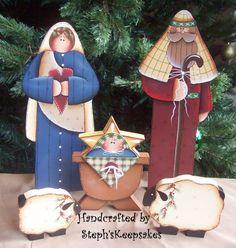Folk Art Nativity Set by stephskeepsakes Christmas Nativity Scene, Noel Christmas, Country Christmas, Nativity Sets, Arte Country, Pintura Country, Tole Painting, Painting On Wood, Xmas Ornaments