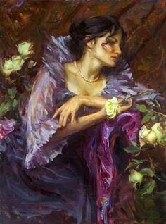 Daniel F. Gerhartz...MOM WOULD HAVE LOVED THIS PAINTING WITH THE SHADES OF PURPLE  ..HER FAVORITE COLOR Amazing Art, Dress Painting, Painting Of Girl, Figure Painting, Purple Painting, John Singer Sargent, American Artists, Art World, Beautiful Paintings