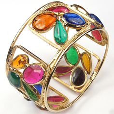 Hattie Carnegie Golden Openwork and Multicolour Poured Glass Bangle Bracelet