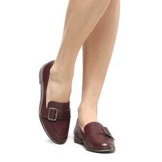 848112a59d Mocassim Couro Shoestock Fivela Larga Feminino - Vinho