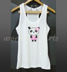 Panda female racerback tank top white color size by WorkoutShirts