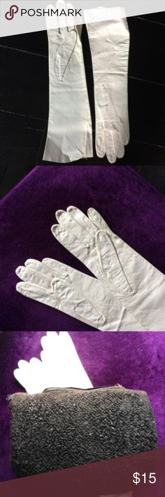 """Genuine Victorian kid leather gloves, never worn Extremely narrow women's gloves, which proves they are authentic!  Thin, delicate kid leather. Never worn, EUC. A few light creases but no discolouration. These are a collector's item snd are also great to carry as an accent with a Victorian costume.  Hand-made, no maker's brand. Muff is also available.  Length-  13""""  measured from top to longest finger Width-  3""""       measured across four fingers area, thumb back Width -  3""""     measured  at…"""