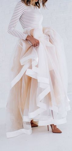 Stripes & Tulle Skirt (this would be cool as a wedding dress)
