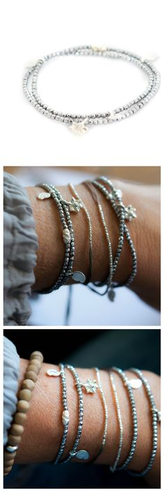 Silver Hematite double wrap bracelet by Vivien Frank 25% off the entire website with coupon code: LETITSNOW