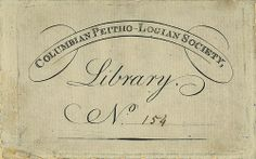 [Bookplate of the Columbian Peitho-Logian Society Library] by Pratt Libraries, via Flickr vintage aged ephemera