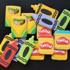 Crayola and Play Doh cookies Art Birthday, 4th Birthday Parties, 1st Birthday Girls, Grad Parties, Birthday Ideas, Art Themed Party, Art Party, Galletas Cookies, Fun Cookies