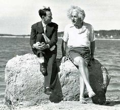 In the summer of 1939, Einstein was at the beach in shorts and sandals  hanging out at Nassau Point on Long Island, New York.