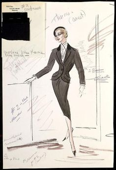 """Edith Head """"Witness for the Prosecution"""" (1957): Costume Sketch. Marlene Dietrich"""