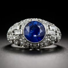 2.62 Carat Sapphire and Diamond Art Deco Ring