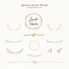 Laurel and Flowers design elements - for personal or photography use - INSTANT DOWNLOAD
