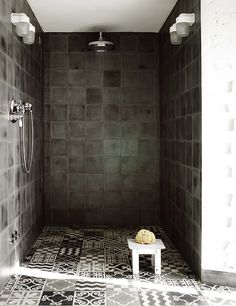 greige: interior design ideas and inspiration for the transitional home : Dark Grey shower and bath..