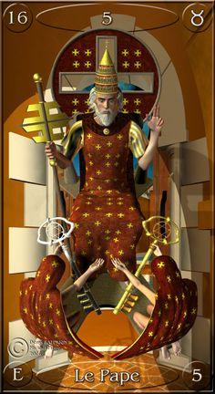 V-The Hierophant - Jeu de Tarots   Denys Raffarin