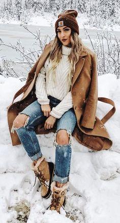 #winter #fashion /  Camel Coat + White Turtleneck