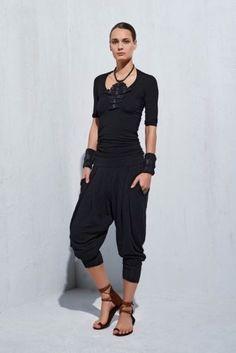 1095-URBAN-ZEN-Jodphur-Draped-Black-Harem-Jersey-dress-Pants-Trousers-Size-L