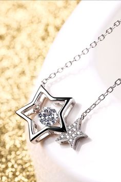 Sterling Silver Chain, Linked Star Shaped  Dancing Stone Necklace