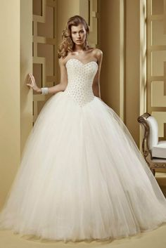 2014 Brilliant Wedding Dresses Ball Gown Sweetheart With Beaded Bodice And Tulle Skirt