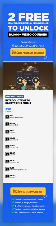 Introduction to Electronic Music Music Composition, Music Fundamentals, Music Production, Creative, Audio, Intro #onlinecourses #writingskills #hardskills   This is a general course for people with little or no experience producing electronic music. This course will cover all general aspects of music making (key, pitch, form, harmony), through basic audio concepts (waveforms, frequency spectrum, e...