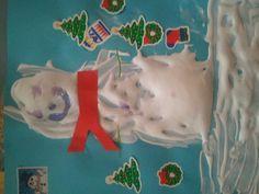 Fluffy snowman - half shaving cream half glue