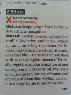 Reader's Digest Apr 2013: natural bug repellent recipe