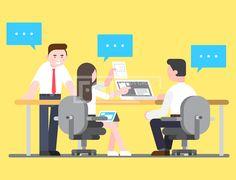 ILL172, 프리진, 일러스트, 비즈니스, 사람, 회사, 거래, 근무, 사무, 상업, 업무, 용무, 동업자, 조력자, 지인, 경영자, 직장, 직무, 오피스, 논의, 직업, 금융, 캐릭터, 인물, 비즈니스맨, 사업가, 리더, 근무하다, 화합, 모임, 협의회, 상담, 의논, 협의, 협상, 협정, 직업적, 전문적, 사원, 계획, 계획하다, 3인, 남자, 여자, 말풍선, 컴퓨터, 노트북, 타블렛, 책상, 회의, 의자, 서류, 정장, 셔츠, 넥타이, 구두, 비즈니스우먼, 웃음, 미소, 지시, ILL172a,#유토이미지