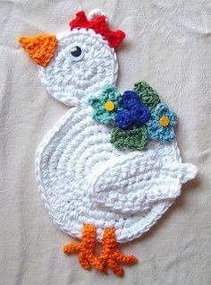 crochet chicken potholder by meekssandygirl, via Flickr no pattern ༺✿ƬⱤღ http://www.pinterest.com/teretegui/✿༻