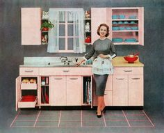 Vintage illustration of a fashionable housewife standing in front of her new pink kitchen, Screen print. (Photo by GraphicaArtis/Getty Images) American Kitchen, Housekeeping Tips, Home Economics, Housewife, Pink Fashion, Vintage Kitchen, Art Images, Home Goods, Kitchen Design