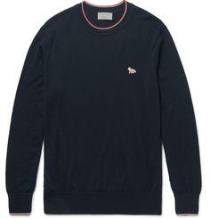 MAISON KITSUNÉ Slim-Fit Stripe-Trimmed Merino Wool Sweater. #maisonkitsuné #cloth #knitwear