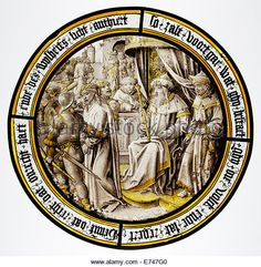 Stained Glass Roundel with Christ Condemned by Pilate, 1515 - Stock Image