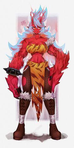 """Comm Work - Magic Punch Oni"" by lokigun Artwork Fantasy Character Design, Character Design Inspiration, Character Art, Manga Anime, Anime Art, Anime Eyes, Fantasy Characters, Female Characters, Touka Wallpaper"